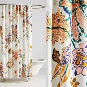 Anthropologie Porte Bonheur Floral Shower Curtain